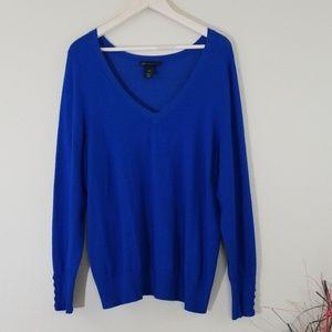 Lane Bryant Sapphire Blue Plus SZ  V-Neck Sweater